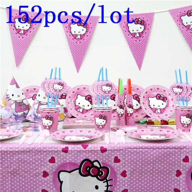 Hello Kitty Theme Design 152pcs Lot Pink Cups Plates Mask Invitation