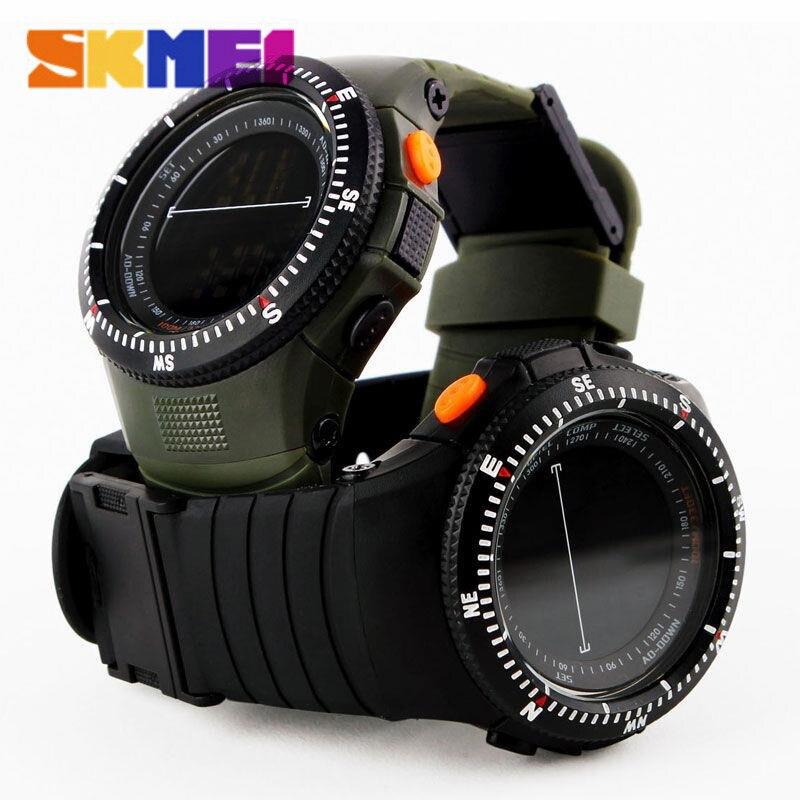 Prix pour SKMEI 0989 Hommes Montres de Sport Tactique Montre Homme Quartz Horloge LED Numérique Étanche Montres Militaires Voyage Kits