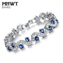MNWT EU Style Crystal Bracelets Silver Color Blue Crystal Stone Women Bangles Fashion Luxury Wedding Jewelry Gift