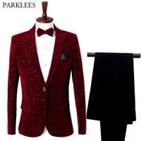 Wine Red Floral Suit Blazer Men 2018 Fashion Groomsman Groom Wedding 2 Piece Suit (Jacket+Pants) Men Party Stage Singer Costume