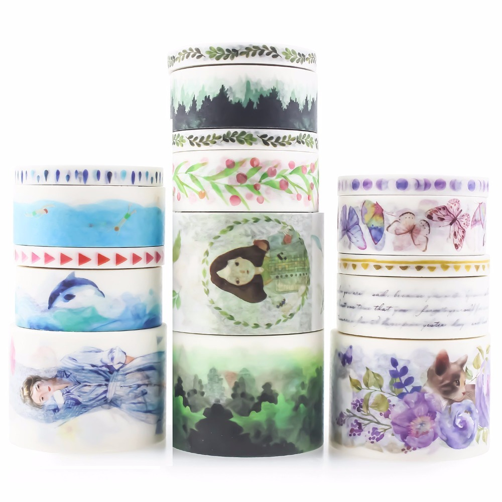16 Creative Gril Trees Animals Decorative Fita Washi Tape Diy Scrapbooking Masking Adhesive Tape School Office Supply Papeleria