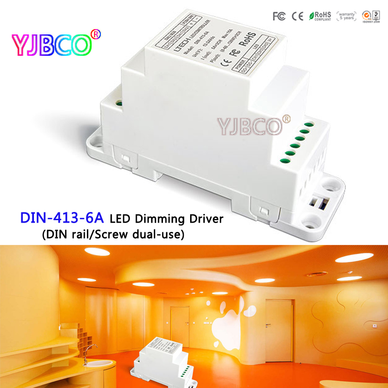 LTECH led controller DIN-413-6A CV DALI Dimming Driver(DIN rail/Screw dual-use);DC12V-24V input;6A*3CH MAX 18A output