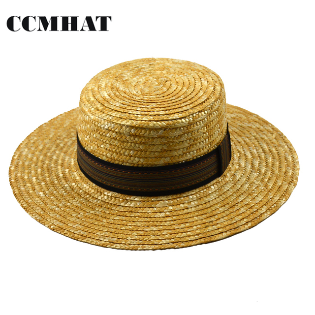 CCMHAT Women Boater Sun Hats Fashion Wheat Panama Beach Summer Hats For Women Boater Chapeau Paille ladies Wide Brim Straw Hats