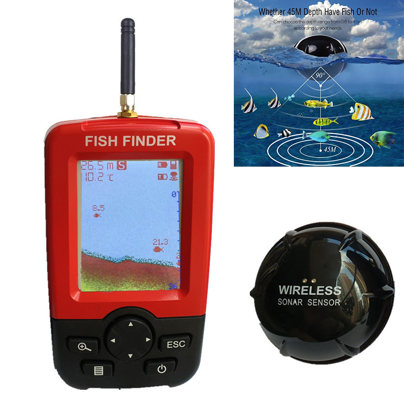 Portable Wireless Fish Finder with Color LCD Display Sonar Sensor Transducer for Fishing High Quality Fishing Tool B2Cshop 1108r portable 2 1 lcd 130f wireless sonar fish finder 4 x aaa