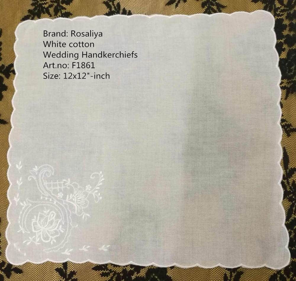 Set Of 12 Fashion White Cotton Ladies Handkerchiefs 12-inch Women Hanky With Scallooed Edges & Embroidered Floral Wedding Hankie