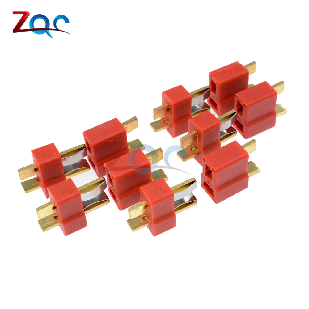 25 Pair Ultra T Plug Connectors Deans Style Male and Female Connectors for RC Li-Po Battery with 50pcs Shrink Tubing
