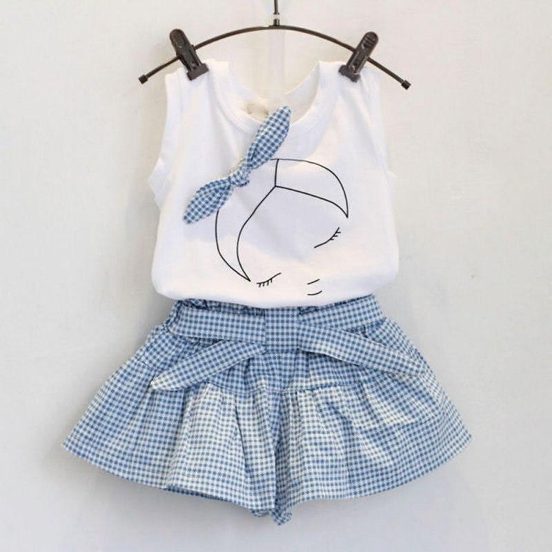 2 pcs Bebê Se Adapte Às Meninas de verão Conjuntos de Roupa Bonito Branco T Camisa Xadrez e Calça Azul para 2-6 anos LH6s