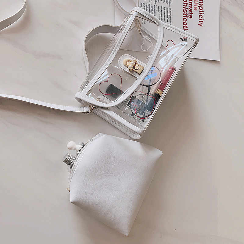 2019 New Style PVC Clear Print Women Transparent Handbag Shoulder Bag Jelly Purse Clutch Square Tote Handbags