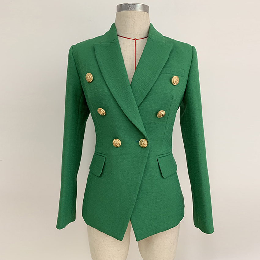 Double Breasted Button Green Blazer Women New Designer High Quality Office Ladies Jacket Long Sleeve Notched Neck Autumn Blazer
