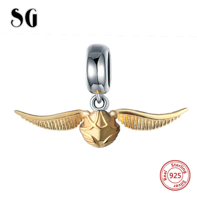SG Golden Snitch Original Charm Beads Fit Authentic pandora Bracelets pendant 925 sterling-silver-Jewelry making for men Gifts