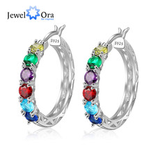 Personalized 925 Sterling Silver Hoop Earrings for Women Custom 6 Birthstones Statement Earrings Birthday Gift JewelOra EA103257(China)