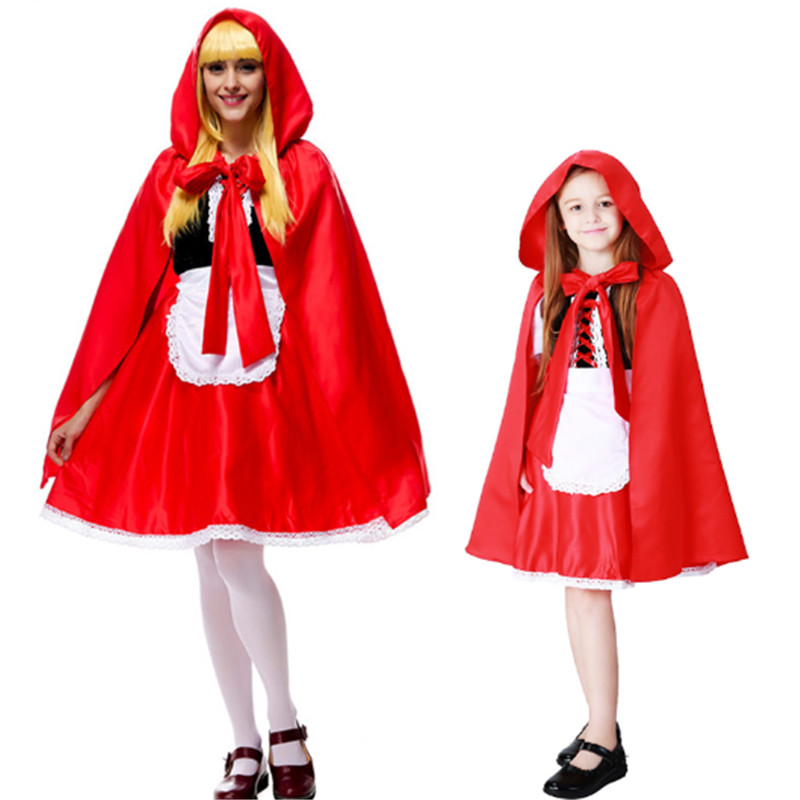 women child Little Red riding hood Costume red parent-child clothing Family maid cosplay Dress Halloween Mother Daughter Dresses