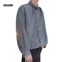 Men Loose Bow Collar Long Sleeve Plaid Casual Shirt Male Retro Fashion Shirts