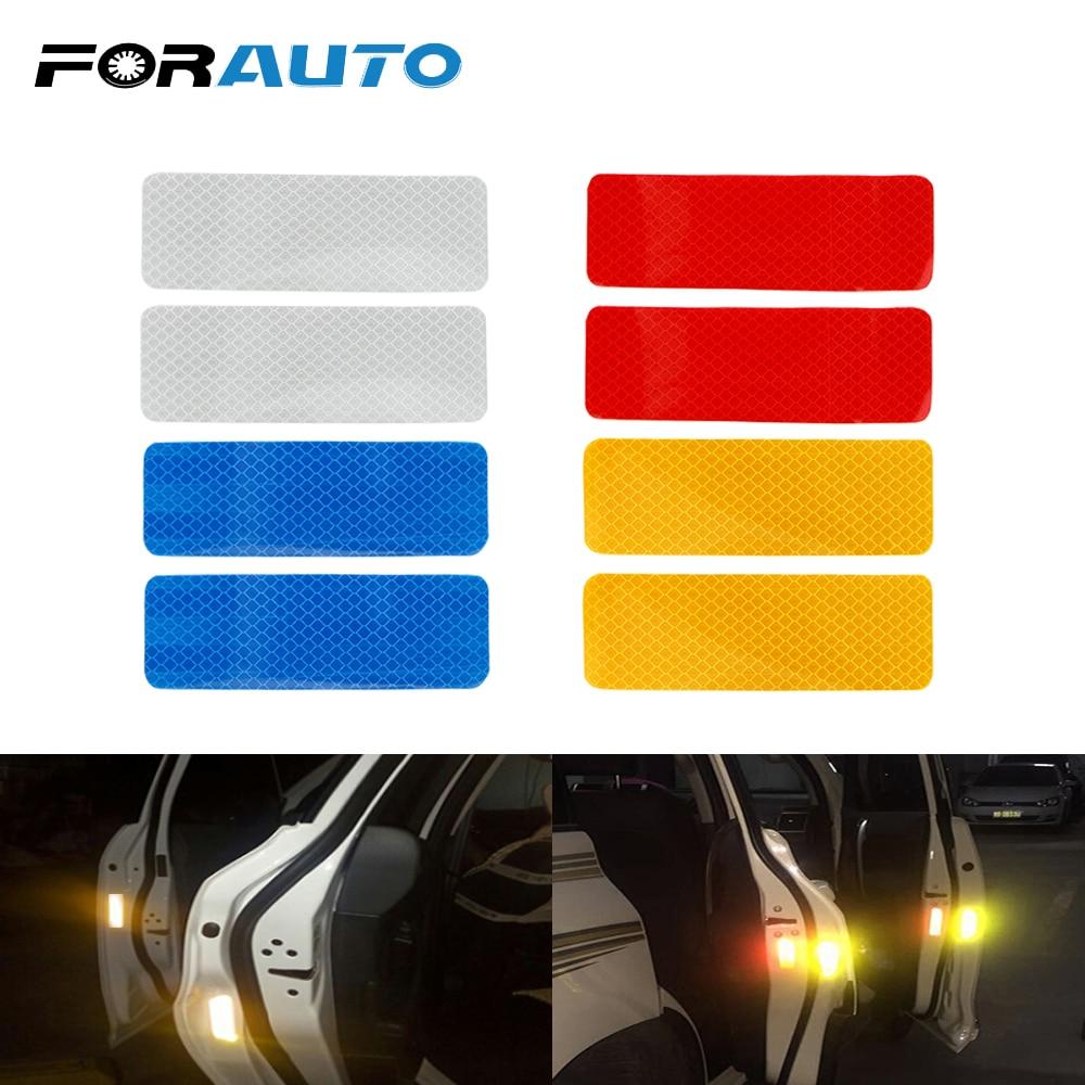 FORAUTO 2pcs Car Sticker Warning Strip Reflective Strips Car Door Bumper Decal Sticker Car Styling 12*4 CM 4 Colors