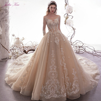 Julia Kui New Arrival Shiny Beading Pearls Appliques Lace Bridal Dress Scoop A line Wedding Dress Chapel Train Vestido de noiva