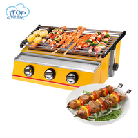 3 Burners LPG Gas BBQ Grill Stainless Steel 2800Pa Smokeless Barbecue Grill Environmental Easy Clean Portable Stove Commercial