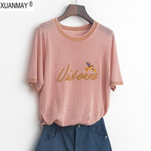 2019 Summer womens Thin Sweater Bright fabric Short-sleeved knit Top fine Embroidery craft pullover women