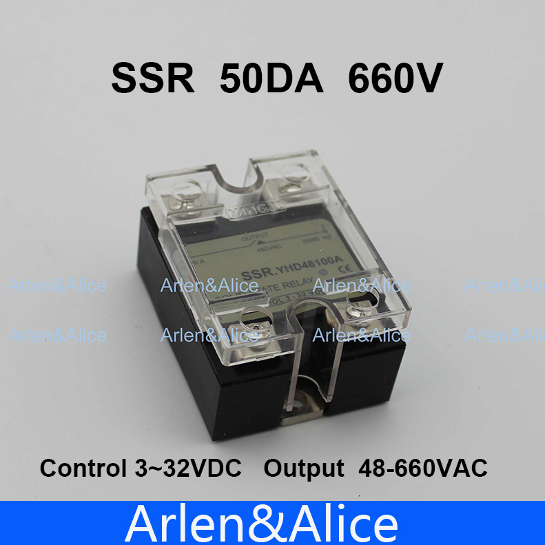 50DA SSR Control 3-32V DC output 48~660VAC High voltage single phase AC solid state relay 20dd ssr control 3 32vdc output 5 220vdc single phase dc solid state relay 20a yhd2220d