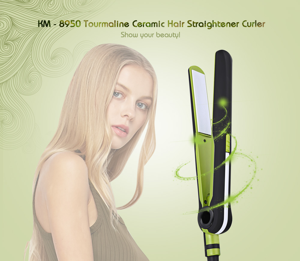 Kemei KM - 8950 Tourmaline Ceramic Hair Straightener Curler PTC heating body Professional Portable Ceramic Hair Styling Machine professional salon ptc heating ceramic negative ions steam automatic hair curler hair style tools