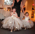 2016 champagne and brown girls tutu dress ball gown ankle length Flower Girl Dress party dress pageant gown with straps