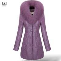 LZJ 2017 nowy kobiety winter warm futra lisa płaszcz kołnierz kożuch skórzana kurtka puchowa luksusowe kurtka plus rozmiar 3XL specjalne klirens