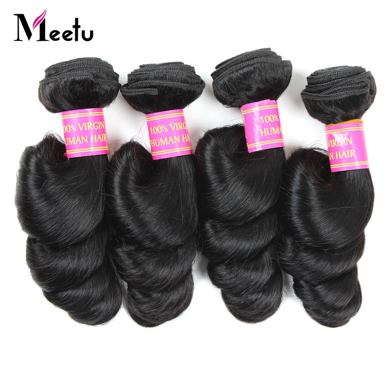 Meetu 4 Bundles Loose Wave Peruvian Hair Bundles 100% Human Hair Weave Non Remy Hair 8-28 Natural Color Hair Extensions