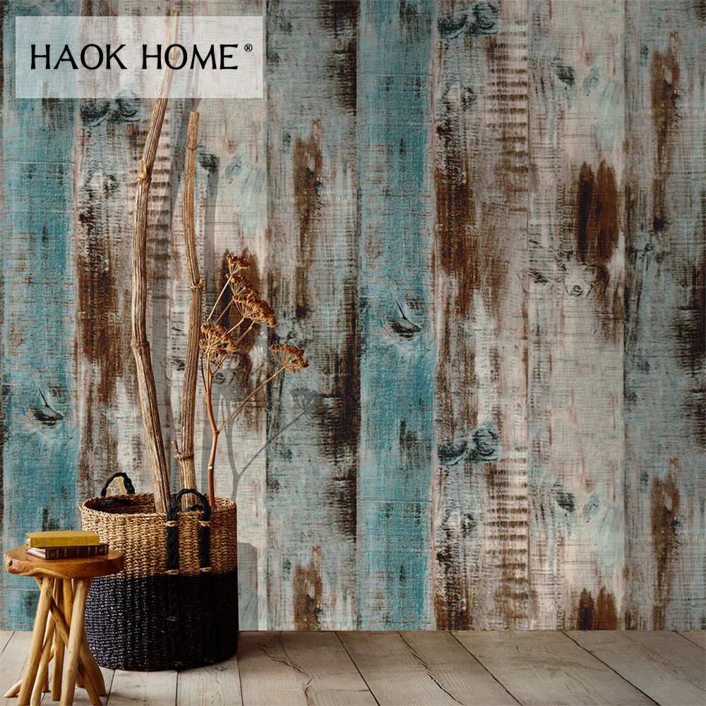 HaokHome Vintage Wood Plank Wallpaper For Walls 3d Self Adhesive Brown Contact Paper Mural Home Living Room Bedroom Decoration