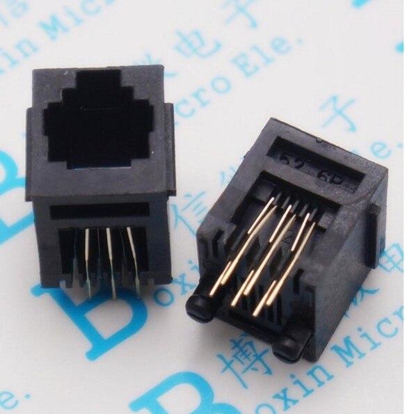 50pcs RJ11 socket 52-6P6C seat RJ12 phone jack female 6-core crystal head 180 degrees vertical 50pcs rj11 socket telephone 90 degrees 6pin crystal female 95001 6p6c socket
