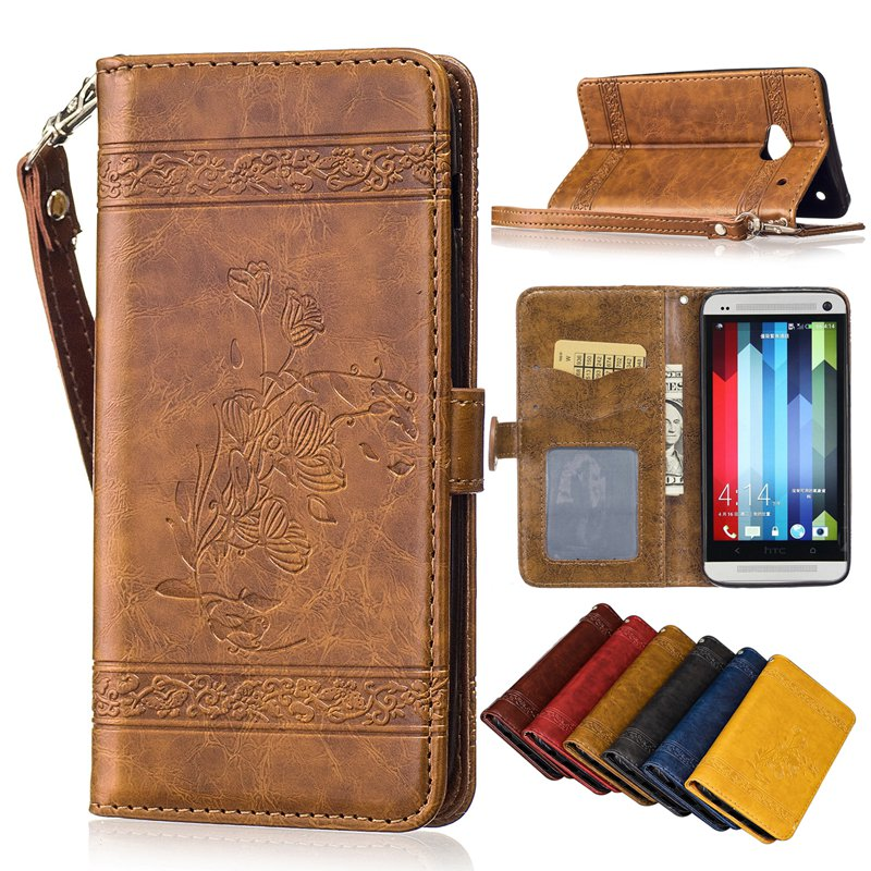 For HTC One M7 Case 4.7 inch Retro embossed lanyard Card Slots wallet With Flip Stand protective Cover For HTC One M7 801E Case