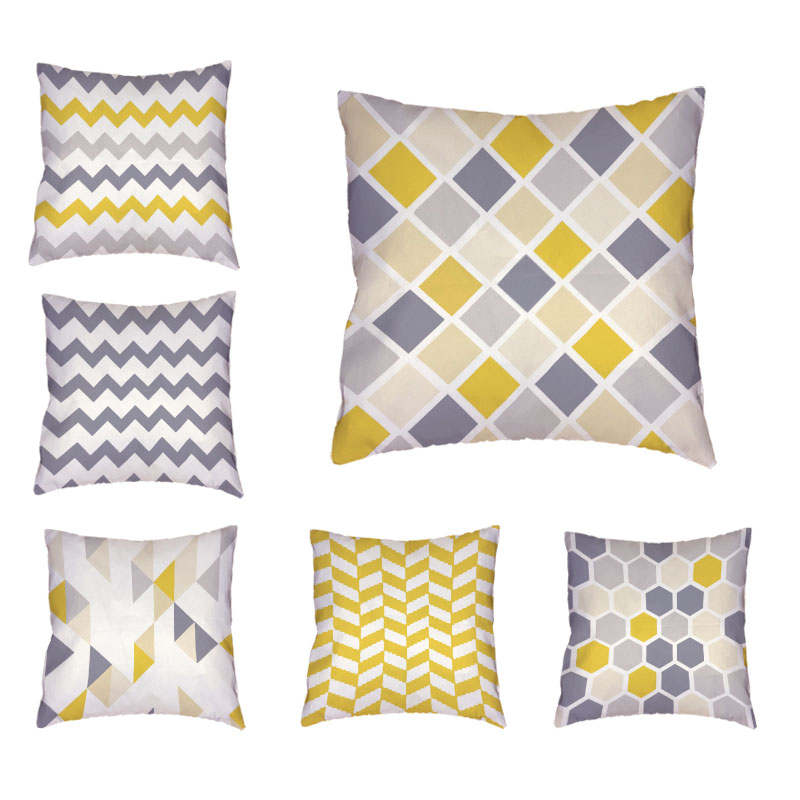 Dropshipping Grey and Yellow Striped Geometric Rectangle Throw Pillow Case 45*45Cm Square Home Couch Car Decorate Cushion Cover