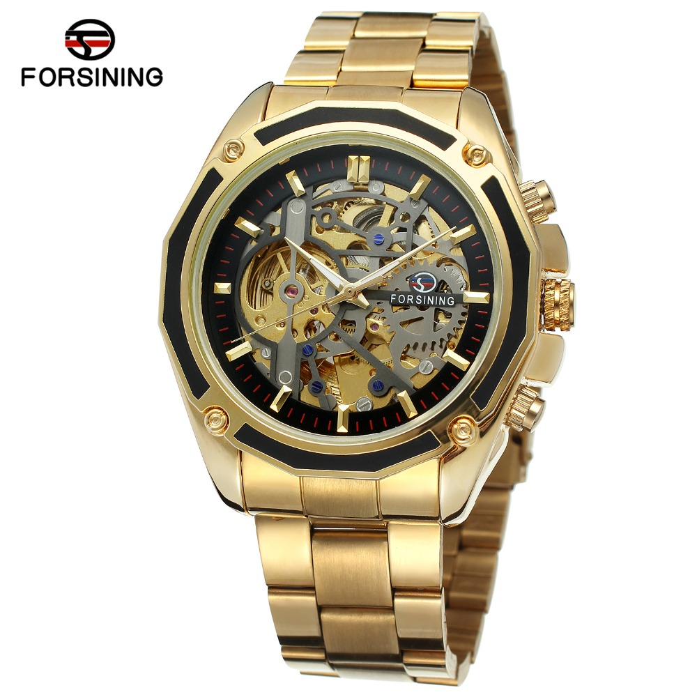 FORSINING Men's High Quality Branded Automatic Chinese Movement Stainless Steel Bracelet Unique Watch Clock Relojes FSG8130M4 relojes full stainless steel men s sprot watch black and white face vx42 movement