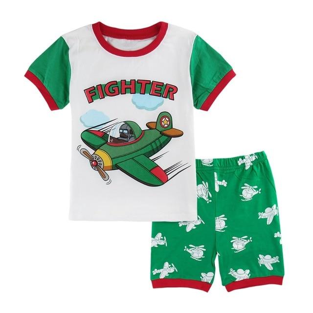 4085e74a2 2018 Children Autumn Pajamas Clothing Set Boys Fighter Cartoon ...