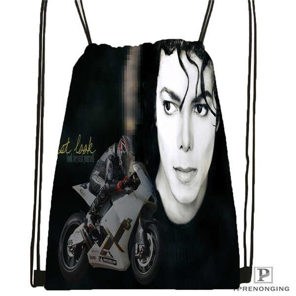Custom Michael Jackson 05 Drawstring Backpack Bag Cute Daypack Kids Satchel Black Back 31x40cm 20180611 02