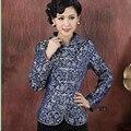 Высокое Качество Синий Китайских женщин Полиэстер Пальто Китайский Стиль Лучших отложным Воротником Куртки Froral Clothing Размер S до XXXL NJ203
