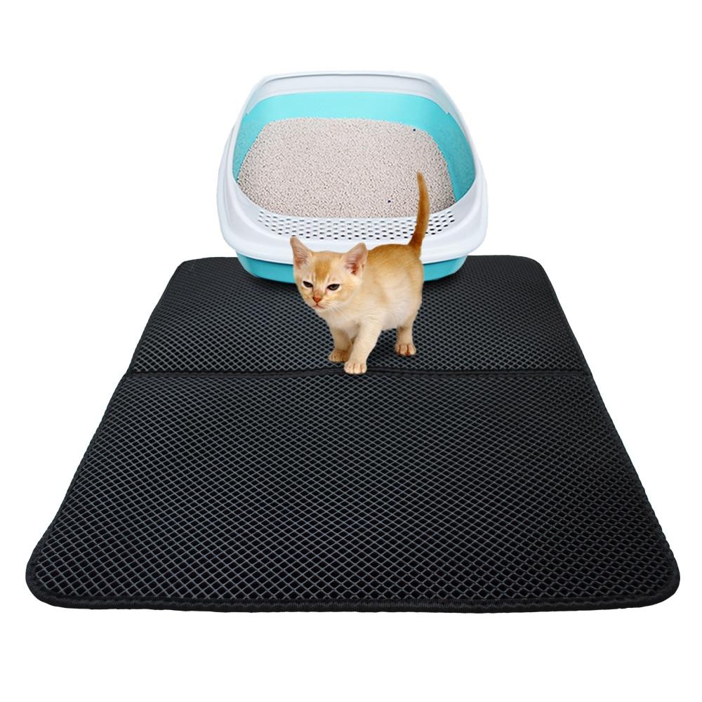 Pet Cat Litter Mat Eva Double-layer Cat Litter Trapper Mats With Waterproof Bottom Layer Kattenmand - Black