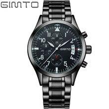 Gimto marka sport wojskowy zegarek ze stali zegarek kwarcowy mężczyźni moda casual luxury wodoodporna męska zegarki zegar relogio masculino