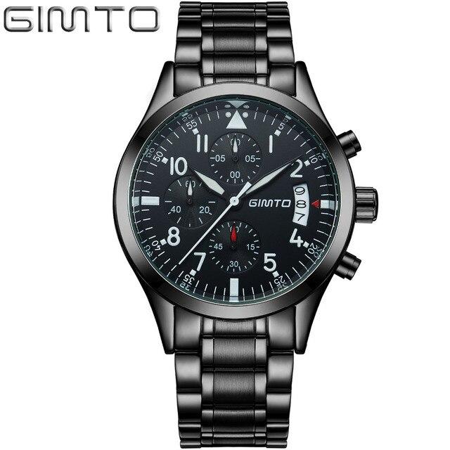 Gimto marca deportes hombres reloj de cuarzo de moda casual de lujo de acero reloj militar impermeable relojes reloj de los hombres relogio masculino