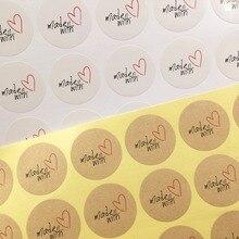 """100 sztuk 3cm """"made with"""" Red Heart naklejka z papieru siarczanowego prezent pieczęć naklejki dla domowej roboty piekarnia i opakowanie na prezenty"""