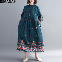 DIMANAF Women Long Dress Elegant Embroidery Floral Plus Size Lady Vestido Chinese Style Female Clothes Loose Autumn Dresses 2018