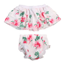 2pcs Set Kids Baby Girls Casual Floral Off-Shoulder T-shirt Tops & Mini Skirt Outfits for Summer Girls Clothes Set 0-24M