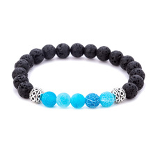 8mm Fashion Charm Volcanic Rock Beads Elastic Bracelet Tibetan Silver Alloy Hollow Ball Exquisite Accessories