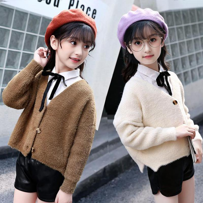 2018 Knitted Girls Sweater Autumn Sweaters For Girls V-neck Girls Top Winter Teen Kids Girls Clothing Christmas Gift Cardigan 12 christmas knitted sweater cardigan for girls autumn winter winter kids pullover deer clothing children sweater 10 years 12 14 page 2