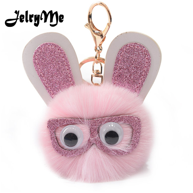 Fashion Glitter Glasses Rabbit Keychain Pompom Faux Bunny Fur Ball Pendant  Cute Sequin Women Key Chains Bag Car Key Ring Holders 52d2a2b8ff3e