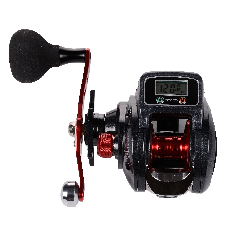 Baitcasting moulinet de pêche avec compteur de ligne 16 + 1 roulements Baitcaster moulinet avec affichage numérique de pêche