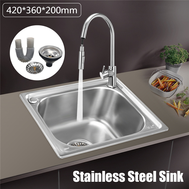 Xueqin 420x360x200mm 304 Stainless Steel Handmade Kitchen Sink Basin Single Bowl With Drainer For Water