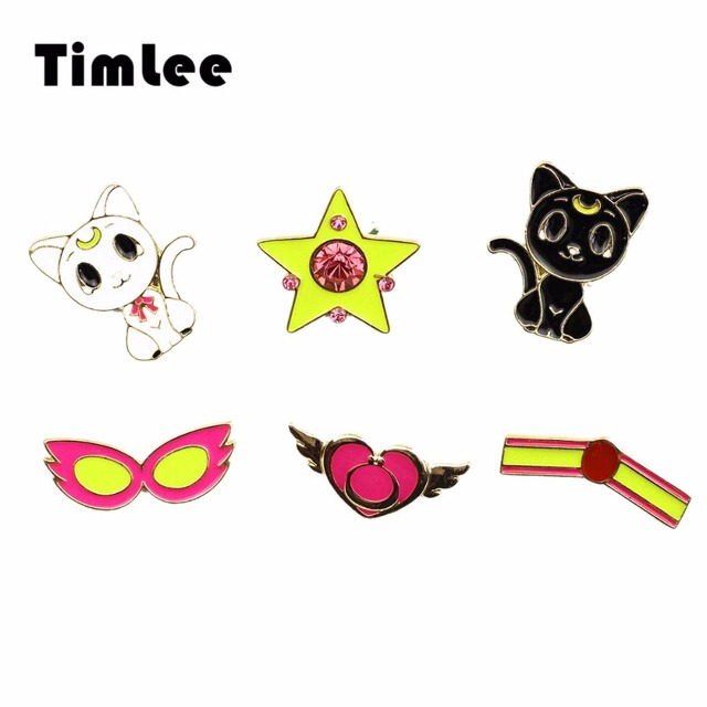Timlee X310 Cartoon Cute Animal Stars Wing Cat  Design Metal Brooch Pins Wholesale