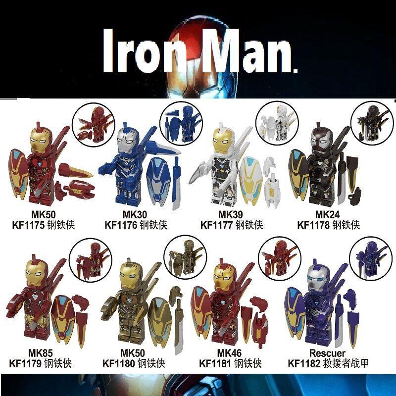 KF6093 Single Sale Super Heroes Iron Man Series Figures M39 M85 M50 Model Spider-Man Bricks Building Blocks Children Gift Toys