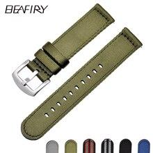 BEAFIRY تنفس المنسوجة النايلون حزام (استيك) ساعة 18 مللي متر 20 مللي متر 22 مللي متر 24 مللي متر خفيفة الوزن ساعة قماش الأشرطة Watchbands الرياضة