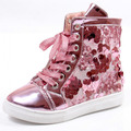 2016 Glam Girls Fashion Sneaker Girls Bling High-top Sneaker Children's Pailletters Shoes Kid Sequined Shoes Pink, Gold, Black