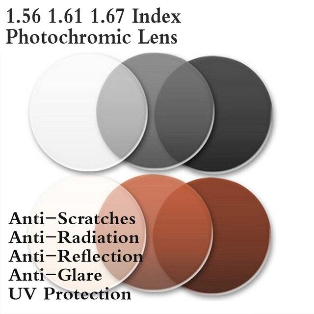 2d70156073 1.56 1.61 1.67 Index Aspheric Photochromic Optical Prescription Eyeglasses Lens  Myopia Presbyopia Colored Lenses For Eye Glasses